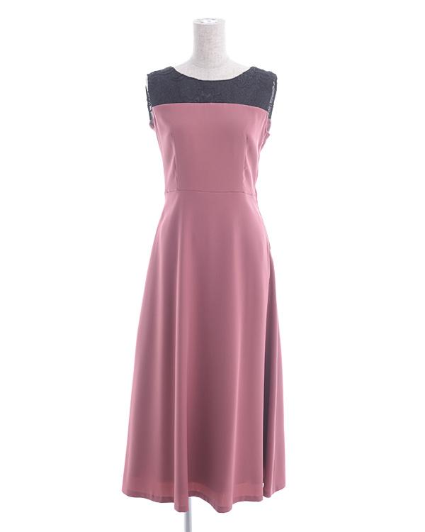コードラッセル ジョーゼット スピンドル仕様 ローズピンク セミロングドレス