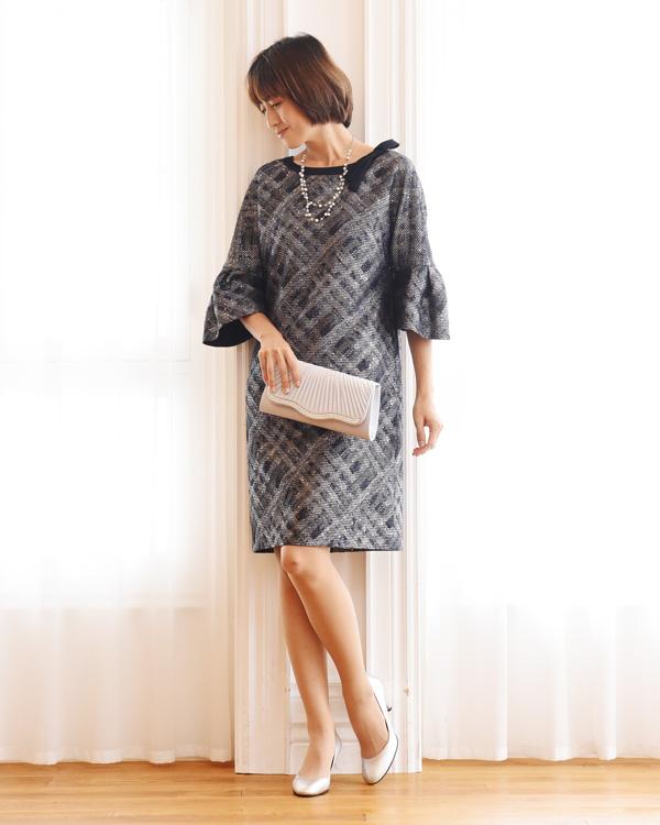 スパンコールチェック 袖付きドレス