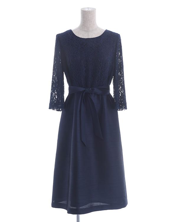 シャンブレーシャンタン ラッセルレース ウエストリボン 袖付きドレス