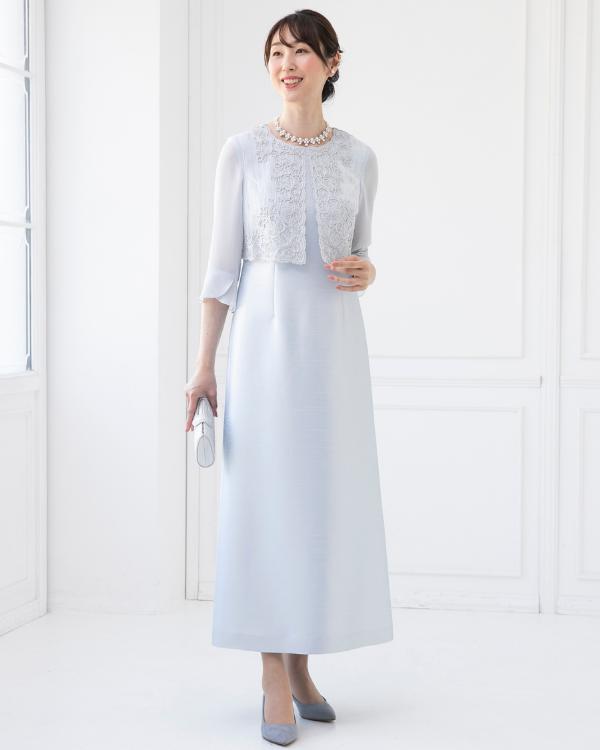 【サックス ※色・サイズ選択可】シャンタン×刺繍シフォン お袖付きロングドレス