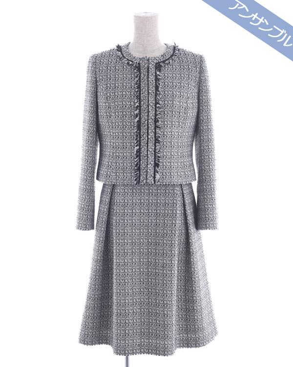 8600746 ライトファンシーツィード ノーカラージャケット 袖付きドレス マザーニーズアンサンブル