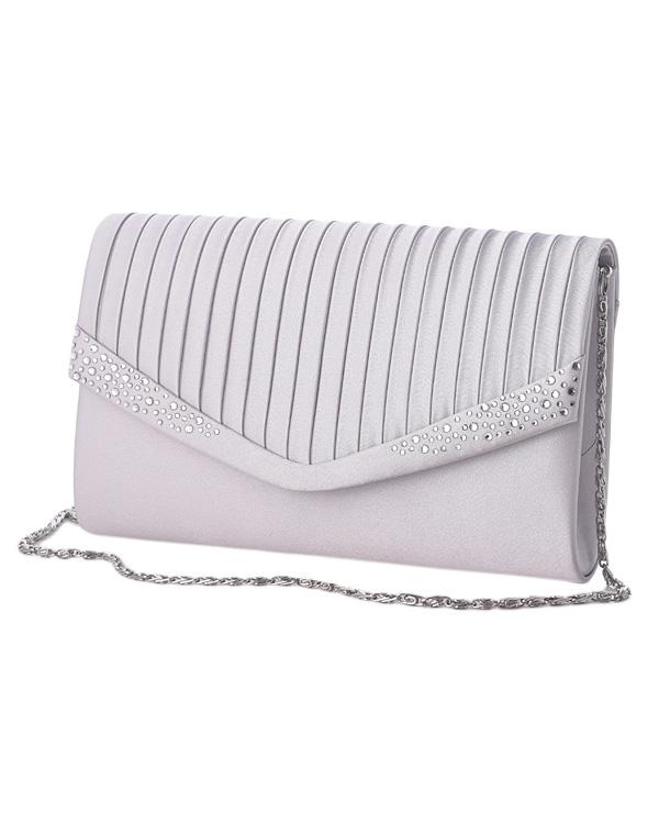 ラインストーン×サテン プリーツ調デザイン チェーン付き コンパクトバッグ