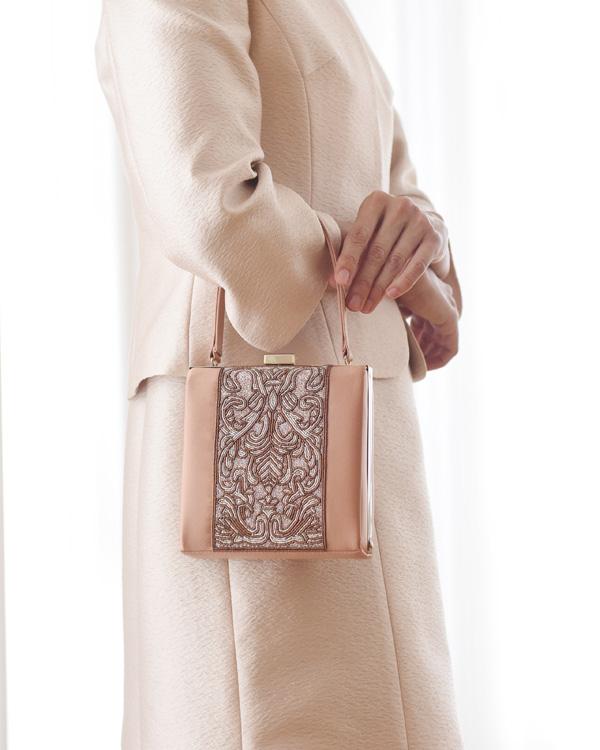 シルクサテン ビーズ刺繍 持ち手付き フォーマルバッグ